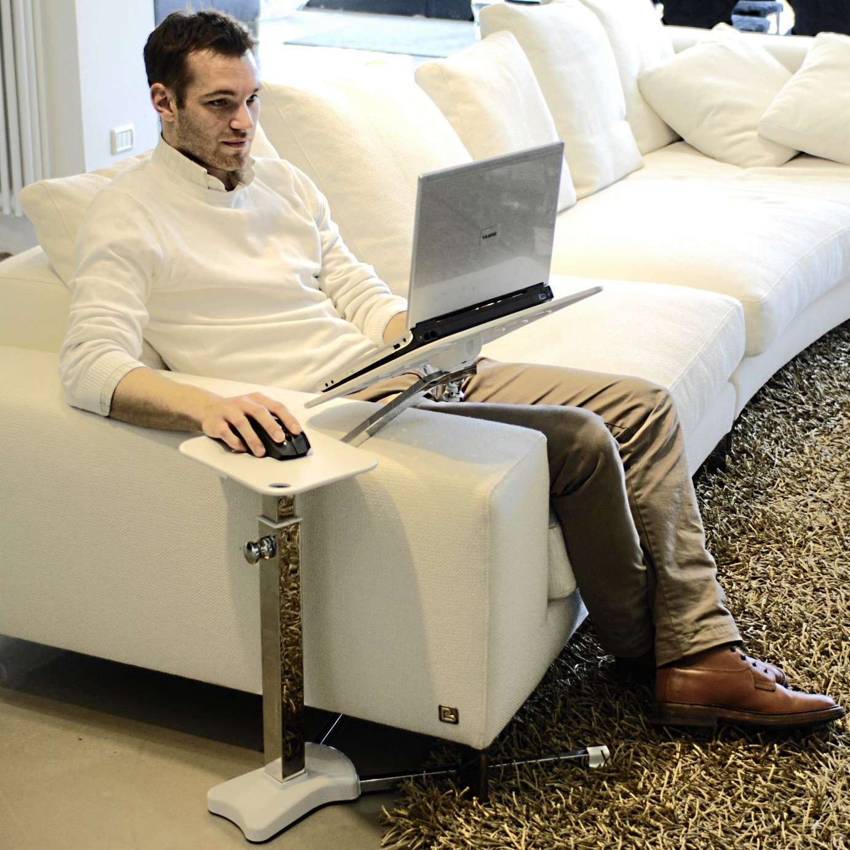 Laptop Table For Sofa: Laptop Accessory: Lounge-book ChromeWhite
